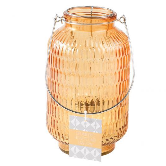 Giant Amber Glass Honeycomb T-light Holder