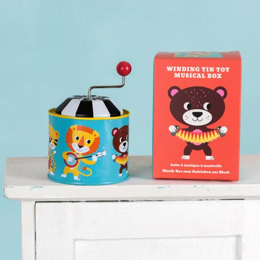 Winding tin music box for children with animal print