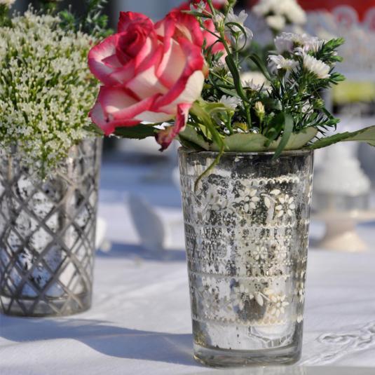 Flowers in Silver Glass T-light Holders