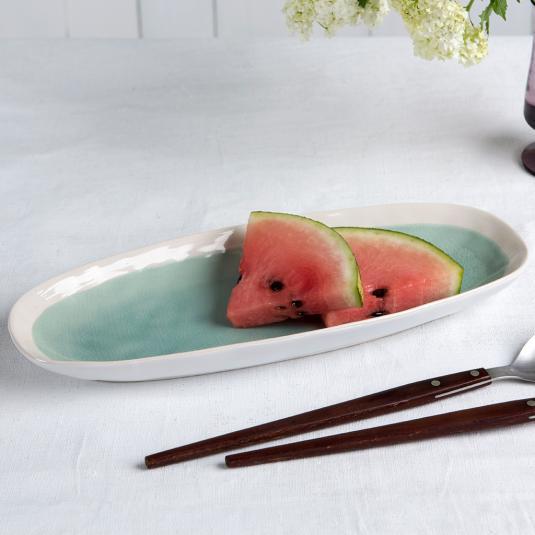 Green ceramic platter