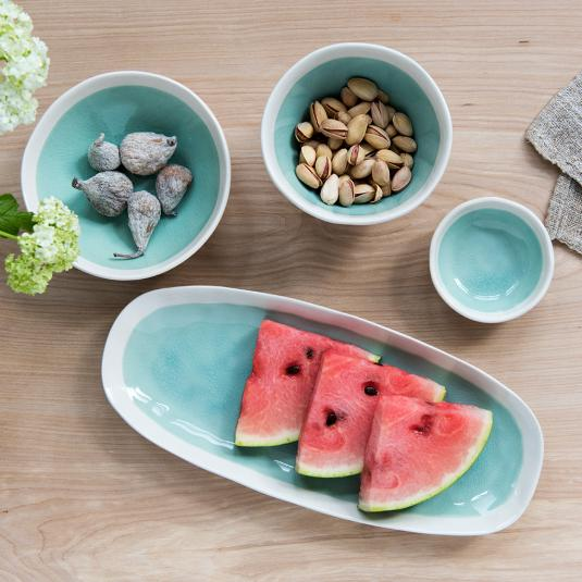 Green ceramic servingware