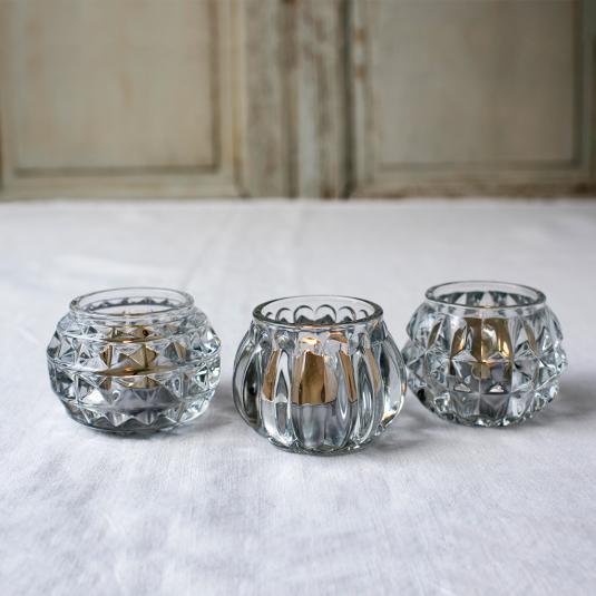 Clear Art Deco glass tea light holders