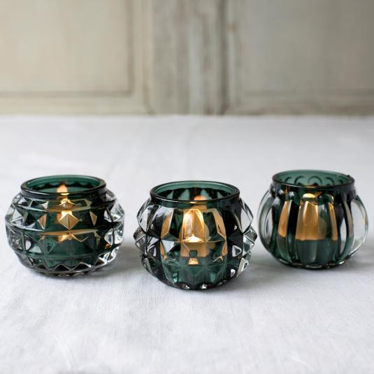 Green art deco glass tealight holders