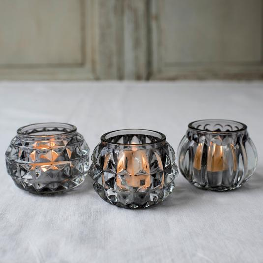 Grey Art Deco glass tea light holders