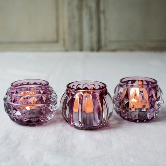 Pink Art Deco tea light holders