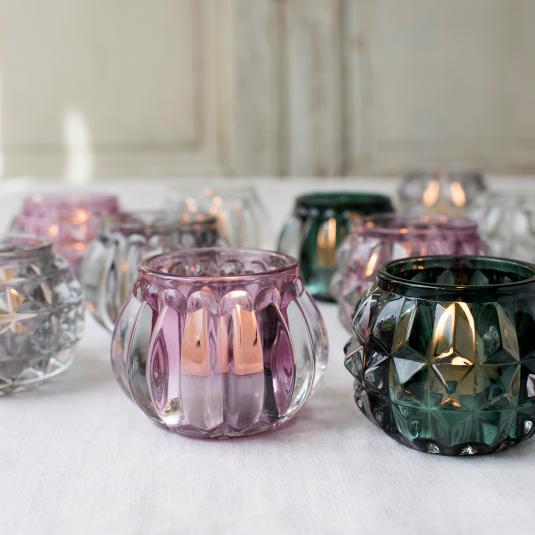 Art Deco glass tea light holders