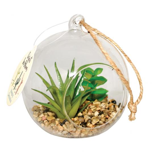 Artificial Cactus and Succulent Plants in Hanging Bauble
