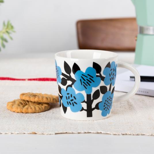 blue floral print ceramic  Mug