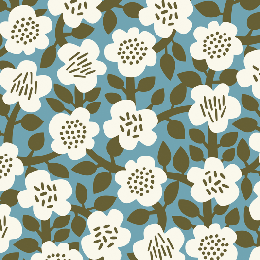 Abstract flowers print olive green wrapping paper