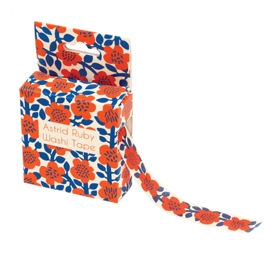 red and blue flowers printed craft tape