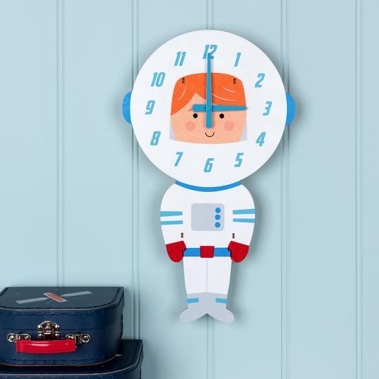 Wooden astronaut battery powered wall clock