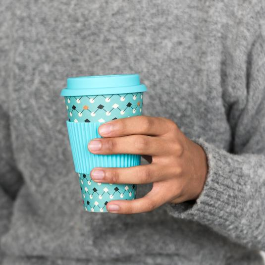 Atomic Blue geometric pattern bamboo travel cup gift for men