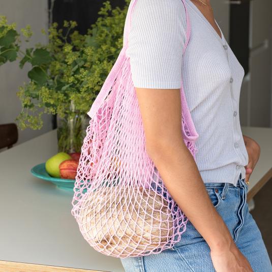 baby pink cotton net shopping bag