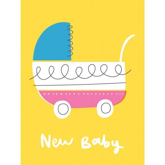 New born Baby Vintage Pram Small yellow greetings Card