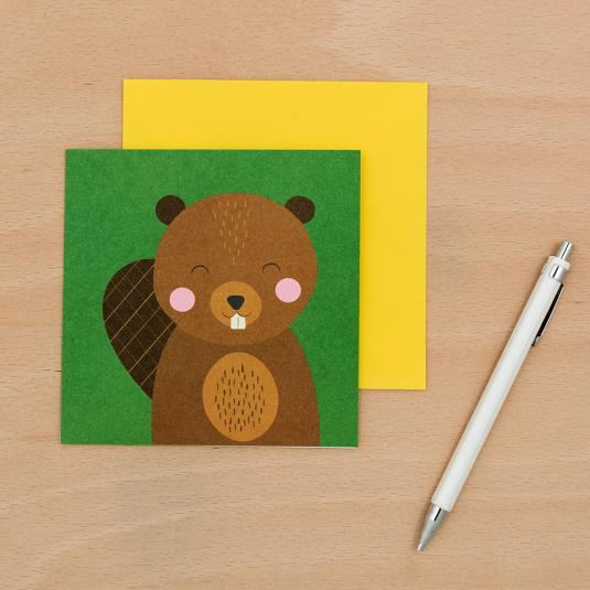 baby Beaver blank green greetings Card with yellow envelope