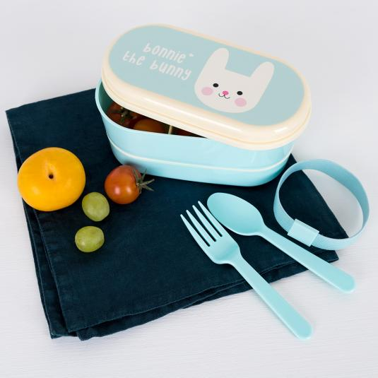 Bonnie the Bunny bento box with two compartments and matching fork and spoon