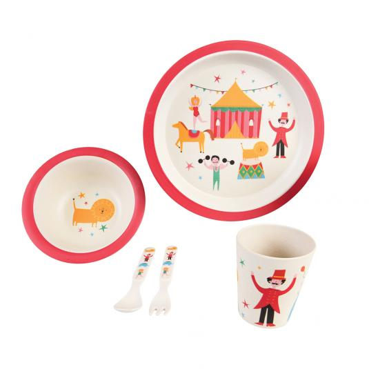 Children's bowl, cutlery, plate and beaker in circus deisng