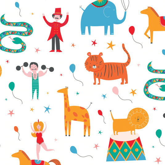 Tube of five sheets of vintage circus inspired wrapping paper