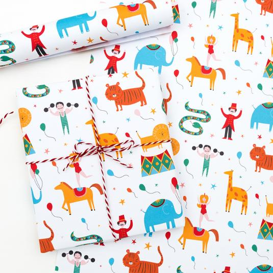 Big Top Circus wrapping paper with animal and acrobat print