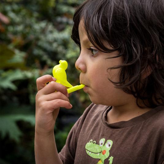 Kids yellow plastic bird shaped whistle