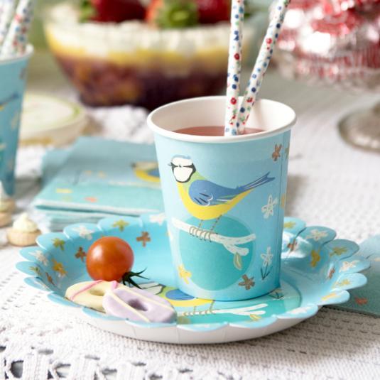 Blue Tit Design Tea Party Cups