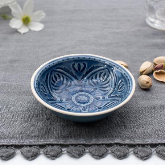 Blue stoneware dipping bowl