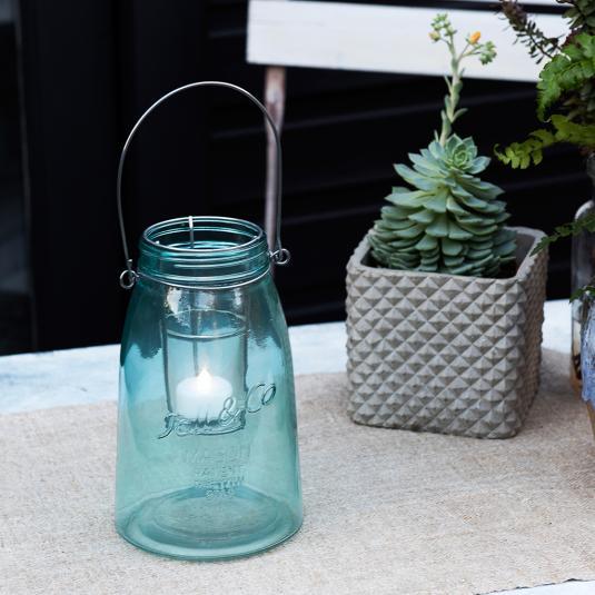 Blue Mason Jar Tealight Holder