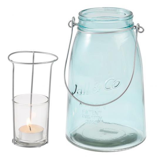 Blue Mason Jar with Tea light Holder