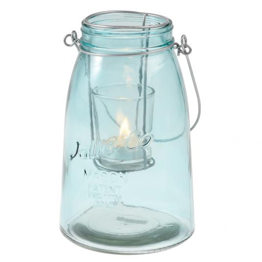 Blue Embossed Glass Mason Jar Tea light Holder