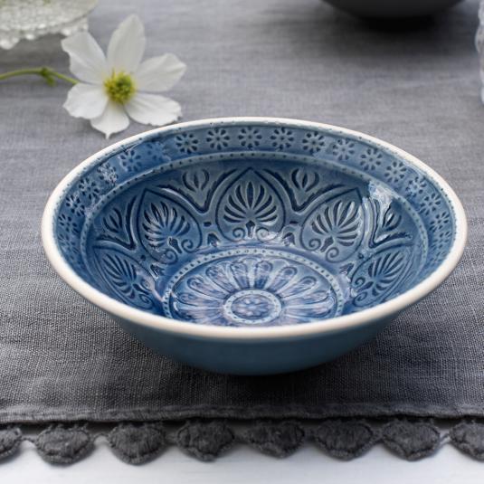 small blue stonware bowl