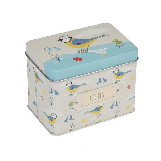 Blue Tit Bird Recipe Storage Tin