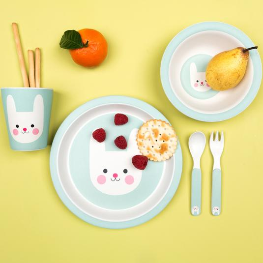toddler blue bamboo dinnerware set: plate, bowl cup and cutlery bunny print