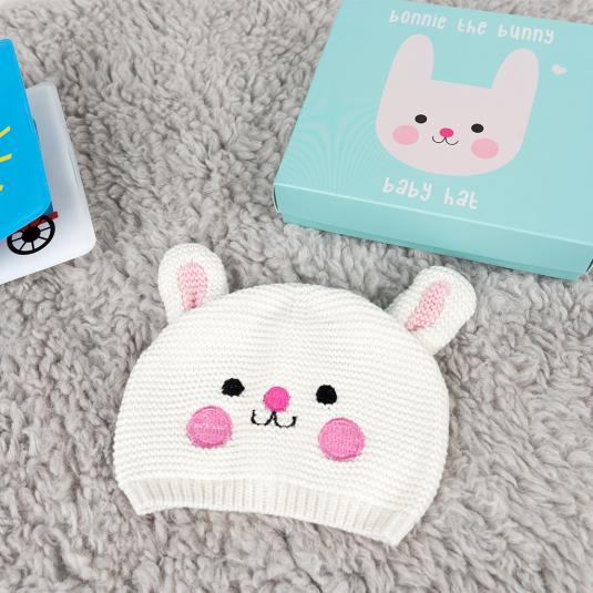 Bonnie the Bunny cotton knitted baby hat in a presentation box