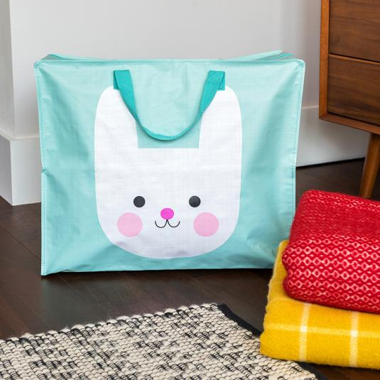 mint blue large storage bag with handles and zip white bunny print