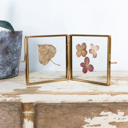 Brass and glass 4 sided photo frame