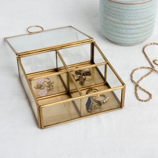 glass and metal gold Jewellery Box