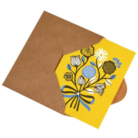 Bunch Of Flowers Small yellow blank greeting Card with brown envelope