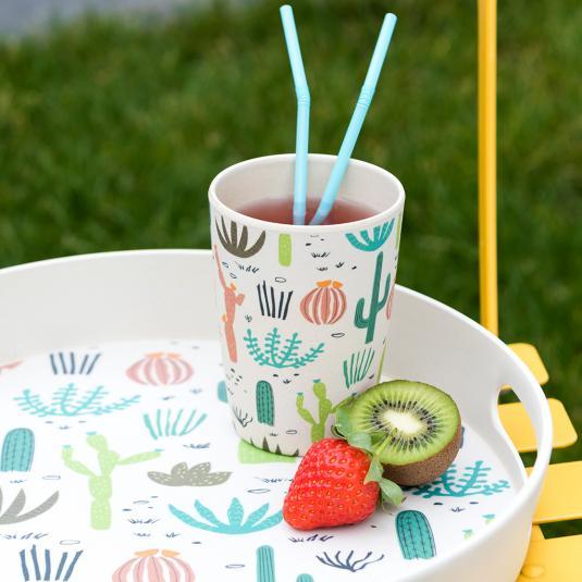 Cactus print bamboo cup