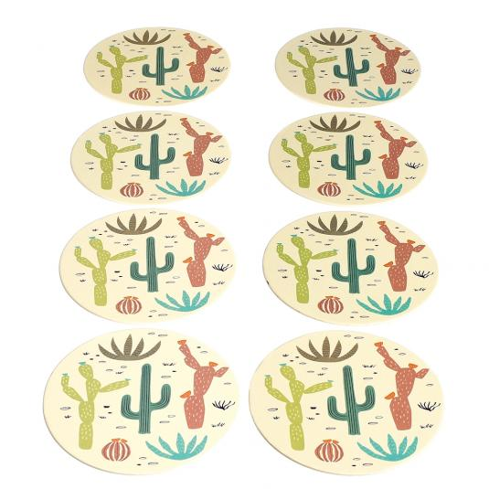 Cactus design disposable coasters