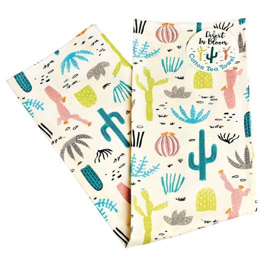 Cactus print cotton tea towel