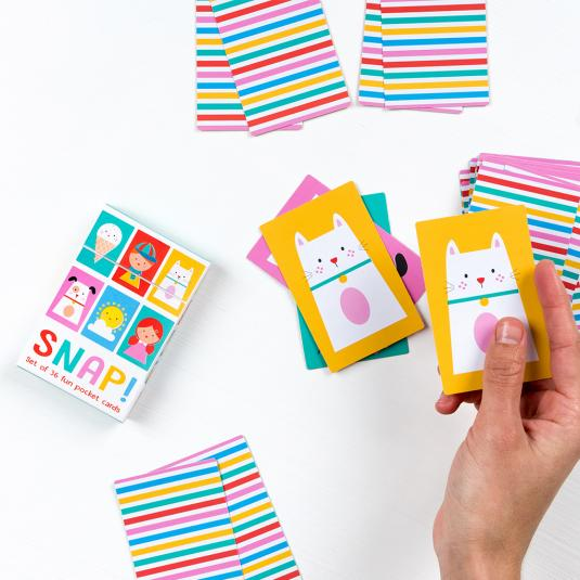 Children's set of 36 snap cards with bright colours