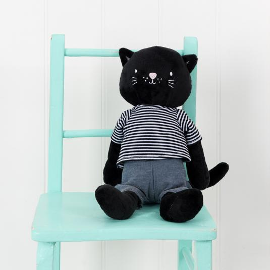 Cat cuddly toy with cotton clothing