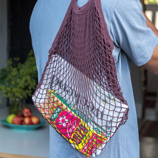 chocolate brown cotton netted shopping bag