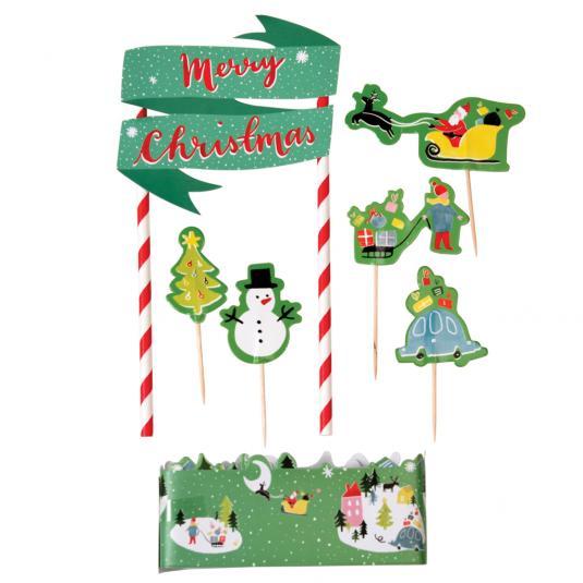 Christmas Cake Toppers.Christmas Wonderland Cake Bunting Kit