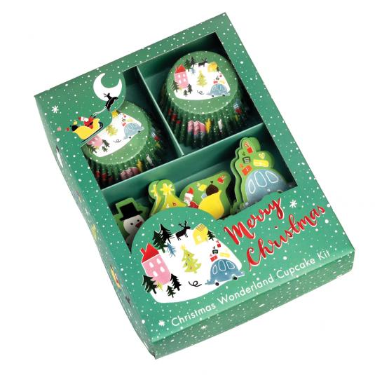Set of Christmas muffin cases and snowy village cupcake toppers