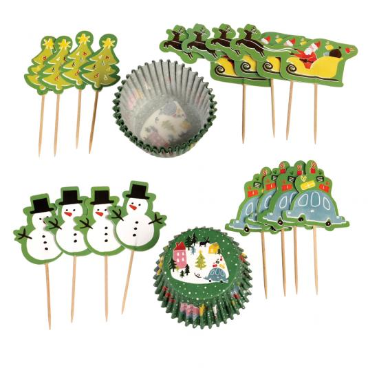 Set of Christmas muffin cases and cupcake toppers