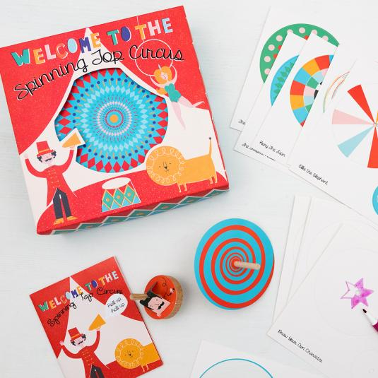 Make your own circus spinning top characters