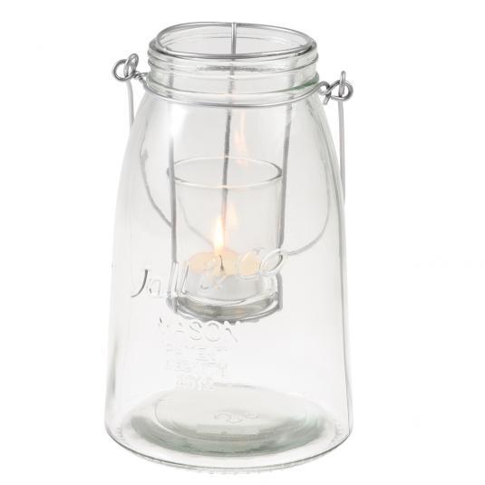 Clear Embossed Glass Mason Jar Tea light Holder