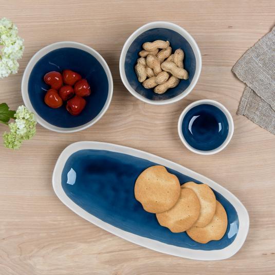Dark blue ceramic servingware