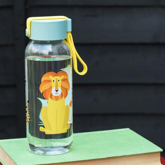 Small Water Bottle with blue lid and lion print